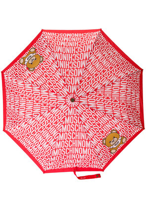 Moschino logo and bear print umbrella - Red