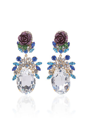 Dolce & Gabbana Rosetto Gold-Tone Brass and Strass Crystal Earrings