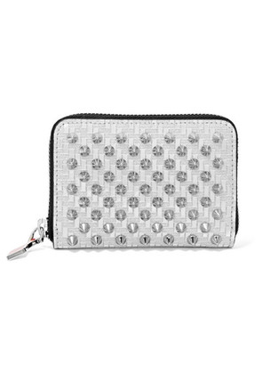 Christian Louboutin - Panettone Spiked Glittered Metallic Leather Wallet - Silver