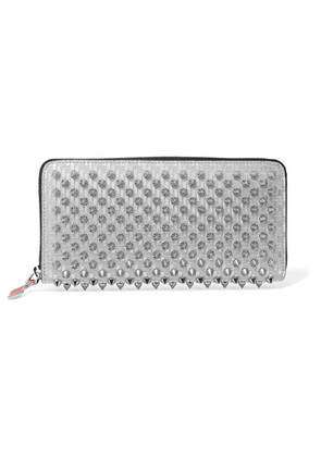 Christian Louboutin - Panettone Spiked Glittered Metallic Leather Continental Wallet - Silver