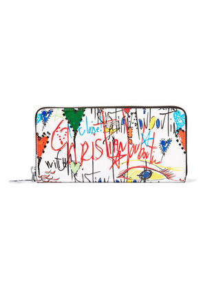 Christian Louboutin - Panettone Printed Patent-leather Wallet - White