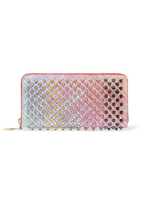 Christian Louboutin - Panettone Spiked Metallic Suede Continental Wallet - Pink