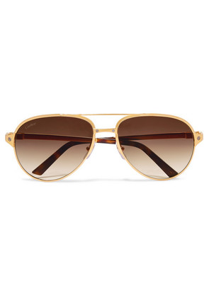 Cartier Eyewear - Aviator-style Gold-plated And Textured-leather Sunglasses - one size