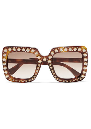 3ab5772f584 Gucci - Oversized Crystal-embellished Square-frame Tortoiseshell Acetate  Sunglasses - one size