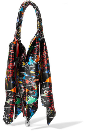 Christian Louboutin - Printed Silk-satin And Leather Bag Strap - Black