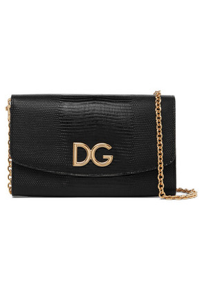 Dolce & Gabbana - Lizard-effect Leather Shoulder Bag - Black
