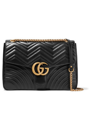 Gucci - Gg Marmont Large Quilted Leather Shoulder Bag - Black