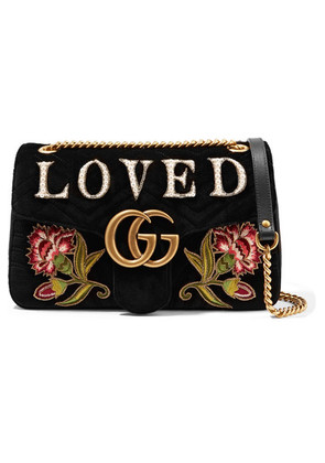 Gucci - Gg Marmont Medium Embroidered Matelassé Velvet Shoulder Bag - Black
