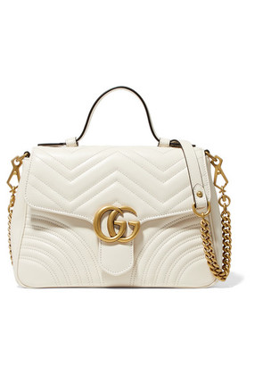 Gucci - Gg Marmont Small Quilted Leather Shoulder Bag - White