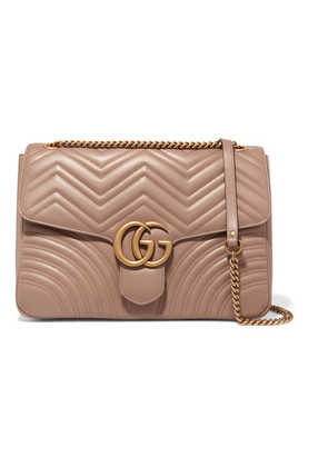 Gucci - Gg Marmont Large Quilted Leather Shoulder Bag - Beige