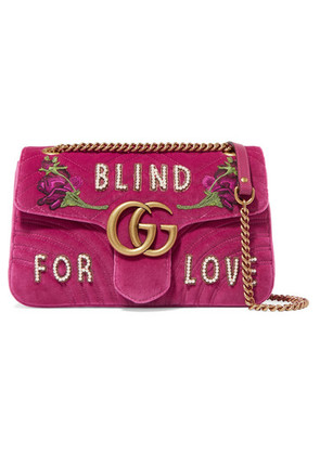 Gucci - Gg Marmont Medium Embellished Quilted Velvet And Leather Shoulder Bag - Pink