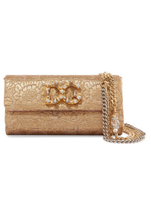 Dolce & Gabbana - Dorina Embellished Metallic Jacquard Shoulder Bag - Gold