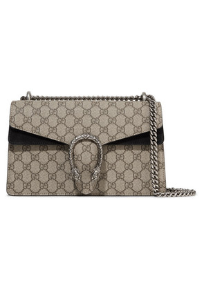 Gucci - Dionysus Small Coated-canvas And Suede Shoulder Bag - Beige