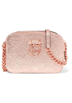 Christian Louboutin - Rubylou Metallic Textured-leather Shoulder Bag - Pink