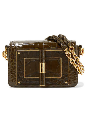 TOM FORD - Natalia Small Alligator Shoulder Bag - Army green