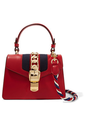 Gucci - Sylvie Mini Chain-trimmed Leather And Canvas Shoulder Bag - Red