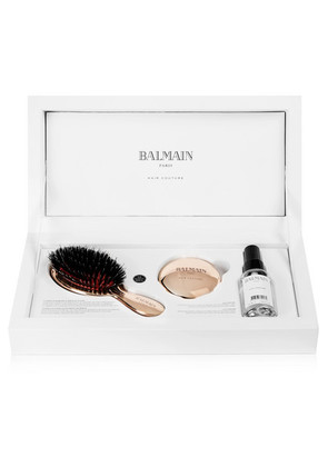 Balmain Paris Hair Couture - Rose Gold-plated Boar Bristle Brush & Mirror Set - one size