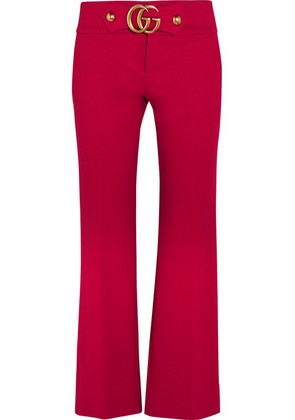 Gucci - Cropped Embellished Crepe Flared Pants - IT46