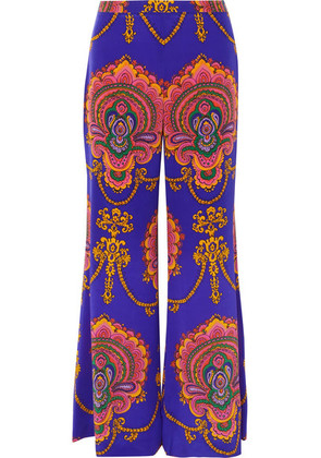 Gucci - Printed Silk Crepe De Chine Wide-leg Pants - Purple