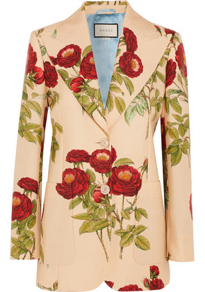Gucci - Floral-print Wool And Mohair-blend Blazer - Beige