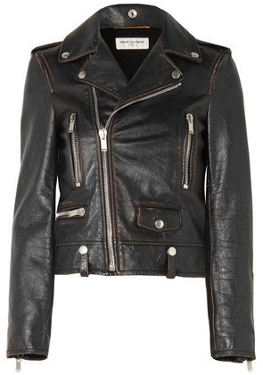 Saint Laurent - Distressed Leather Biker Jacket - Black