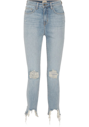 L'Agence - The High Line Cropped Distressed High-rise Skinny Jeans - Light denim