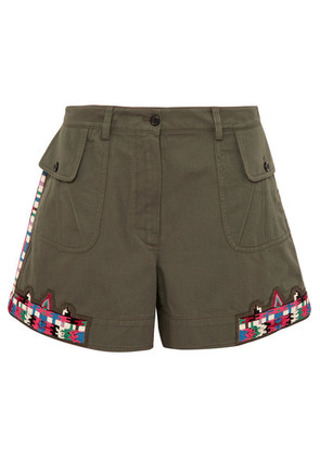 Valentino - Embellished Cotton-twill Shorts - Army green