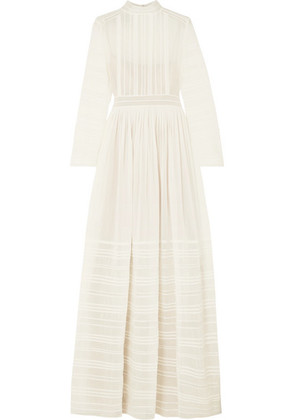 Valentino - Tulle-trimmed Pintucked Cotton And Silk-blend Voile Gown - Ivory