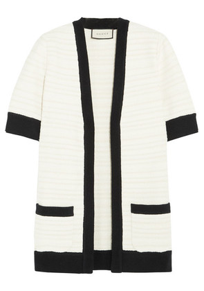 Gucci - Ribbed Knit-trimmed Tweed Cardigan - Ivory