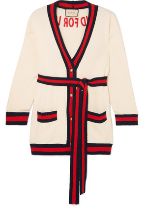 Gucci - Embroidered Cotton-blend Cardigan - Ivory