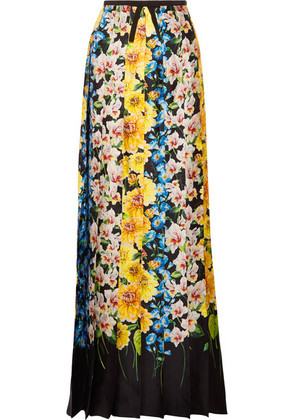 Gucci - Grosgrain-trimmed Floral-print Silk-satin Maxi Skirt - Yellow