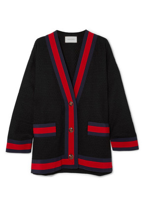 Gucci - Grosgrain-trimmed Cotton-blend Tweed Cardigan - Black