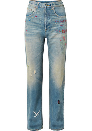 Gucci - Embroidered Distressed High-rise Straight-leg Jeans - Mid denim