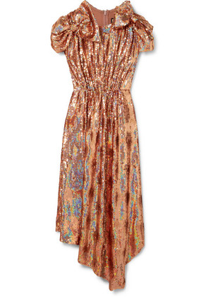 Gucci - Bow-embellished Sequined Silk-georgette Gown - Antique rose