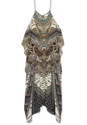 Camilla - The Long Way Home Embellished Printed Silk Crepe De Chine Kaftan - Brown