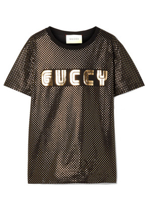 Gucci - Metallic Printed Cotton-jersey T-shirt - Black