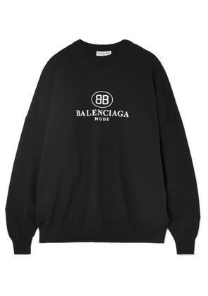 Balenciaga - Embroidered Wool-blend Sweater - Black