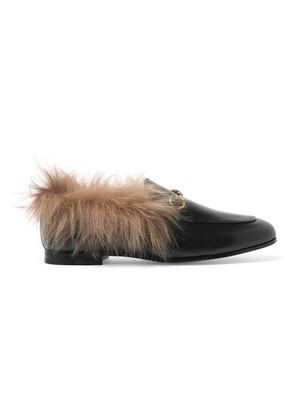 Gucci - Jordaan Horsebit-detailed Shearling-lined Leather Loafers - Black