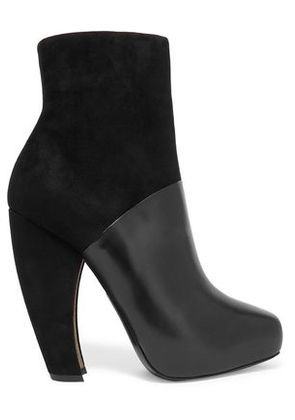 Donna Karan Woman Suede And Leather Ankle Boots Black Size 36.5