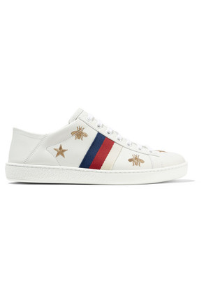 Gucci - Ace Embroidered Leather Collapsible-heel Sneakers - White