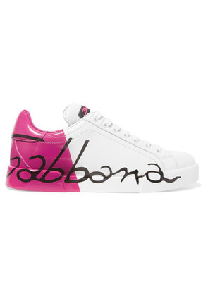 Dolce & Gabbana - Logo-painted Leather Sneakers - Bright pink