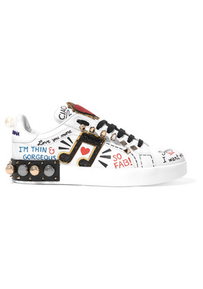 Dolce & Gabbana - Embellished Printed Leather Sneakers - White