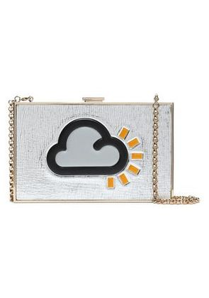 99950c6b2c Anya Hindmarch Woman Printed Metallic Leather Box Clutch Silver Size -. SALE