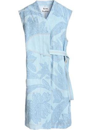 Acne Studios Woman Embroidered Paneled Denim Dress Light Denim Size 34 Acne Studios