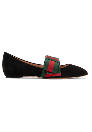 Gucci - Bow-embellished Suede Point-toe Flats - Black c79cafe0e2