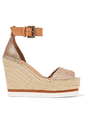 See By Chloé - Metallic Leather Espadrille Wedge Sandals - Gold