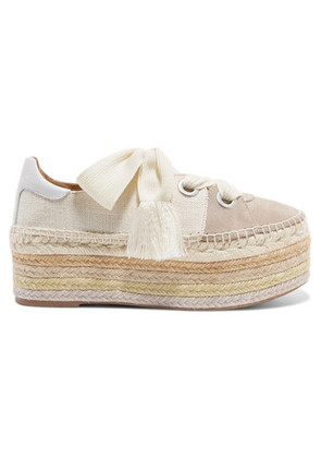 Chloé - Qai Canvas, Suede And Leather Espadrille Platform Sneakers - Ivory