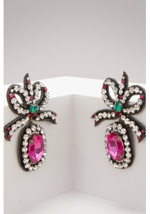 Crystal embroidered bow earrings