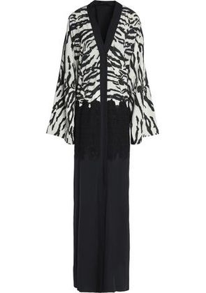 Dolce & Gabbana Woman Lace-paneled Zebra-print Silk And Cotton-blend Gown Black Size 42