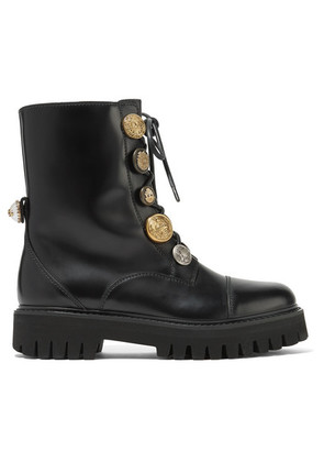 Dolce & Gabbana - Embellished Glossed-leather Ankle Boots - Black